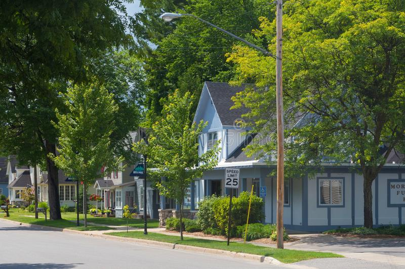 Row of houses on suburban street. A row of houses on a suburban street in the village of Bellaire in Michigan, United States stock image