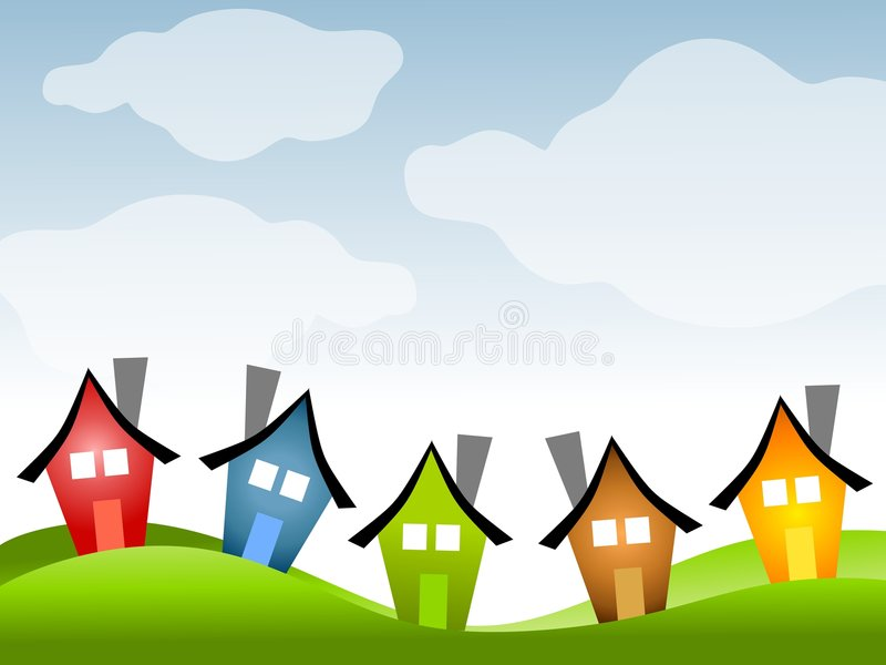 Row of Houses Under Blue Sky royalty free illustration