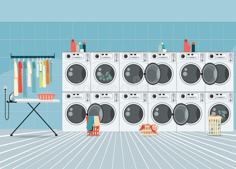 A row of industrial washing machines in laundry shop. vector illustration