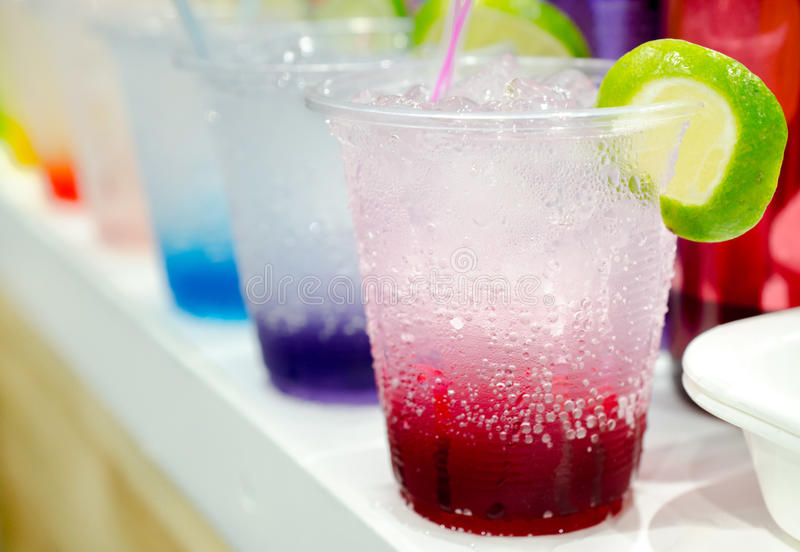 Row of Italian Soda Drinks. Selective focus stock photography