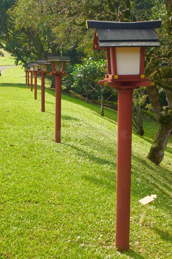 A row of Japanese lamp posts royalty free stock photos