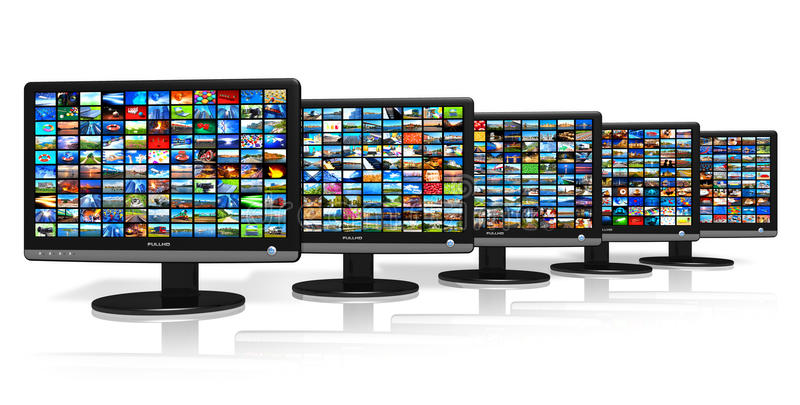 Row of LCD displays with picture galleries