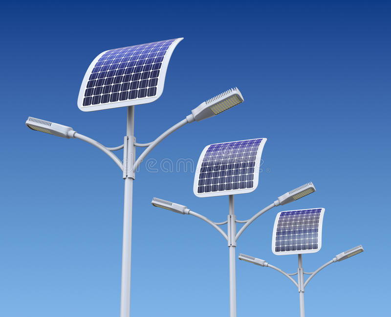 Row of LED street lamp with solar panel vector illustration
