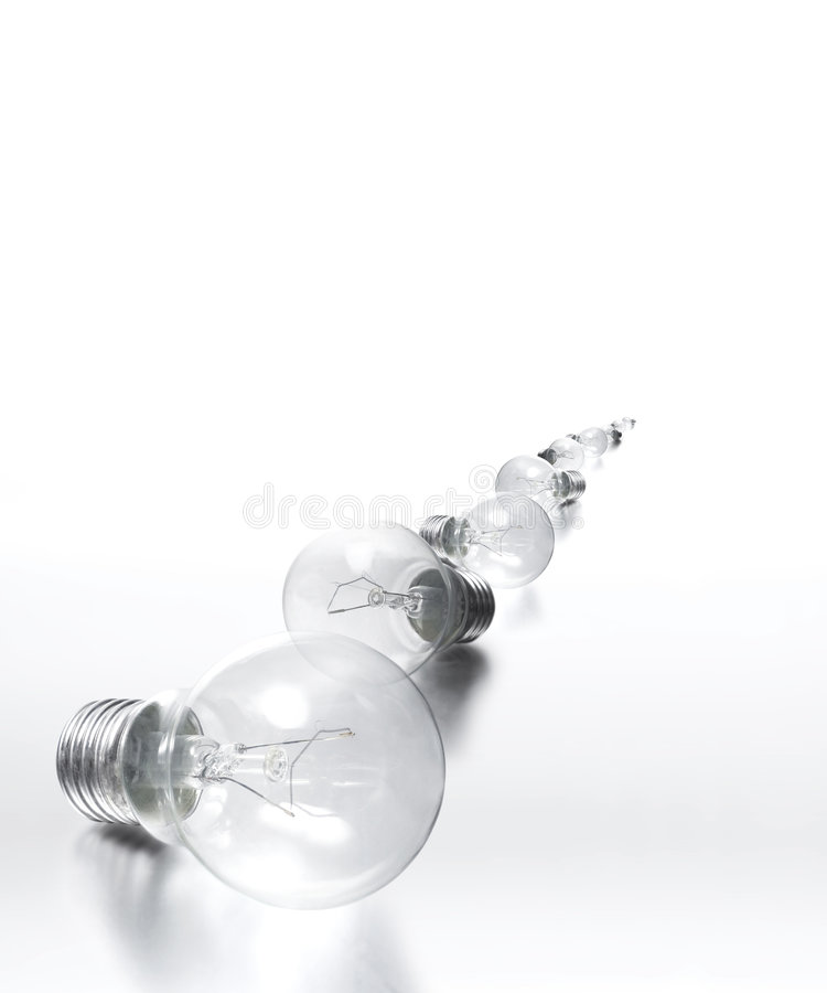 Download Row Of Light Bulbs - All In Focus Stock Image - Image of path, conceptual: 450681