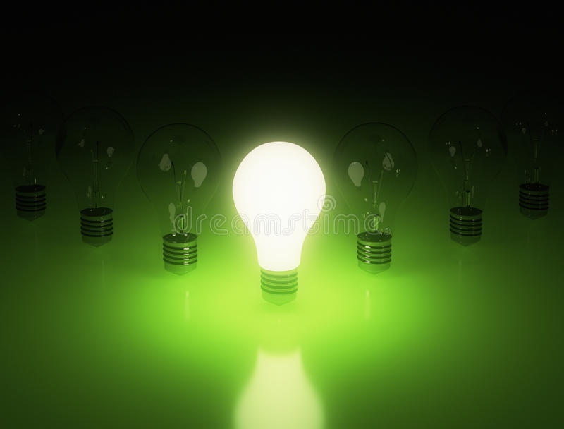 Row of light bulbs stock image