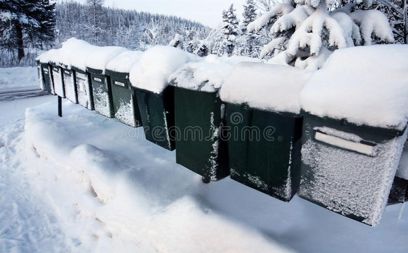 Download Row Of Mail Boxes In  Winter Royalty Free Stock Photography - Image: 29106777