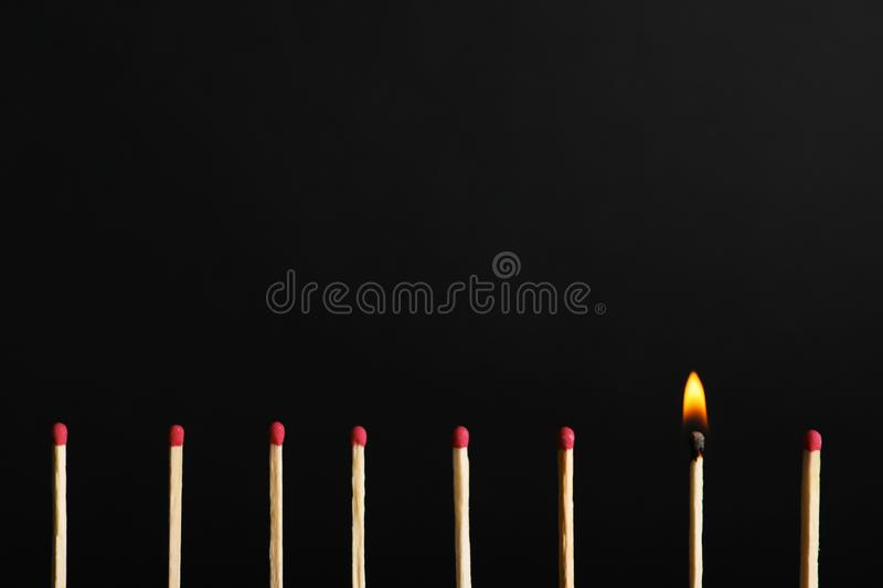 Row of matchsticks with burning one on black background. stock photos
