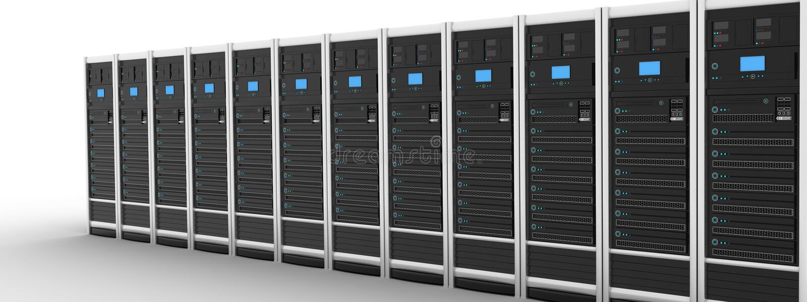 Row modern server. Server row and earth (done in 3d royalty free illustration