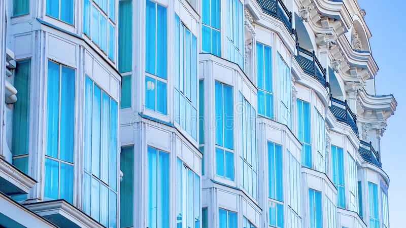 Row of modern town house buildings stock photo