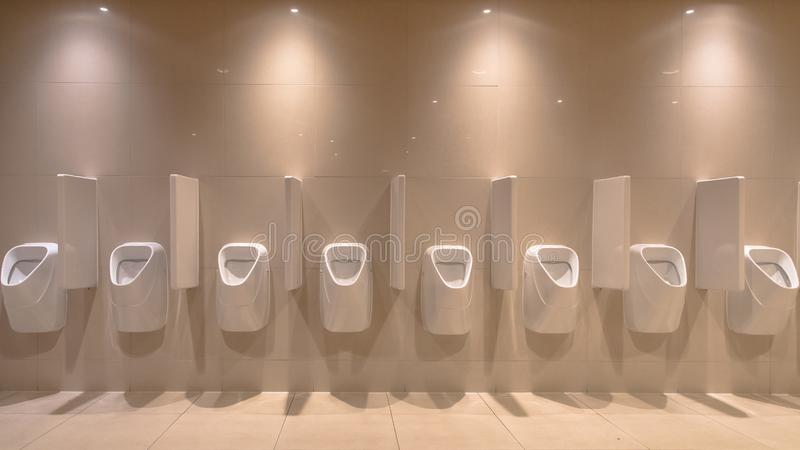 Row of modern Urinals royalty free stock photo