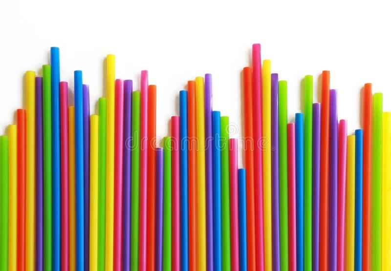 Row of multi colored straws stock image
