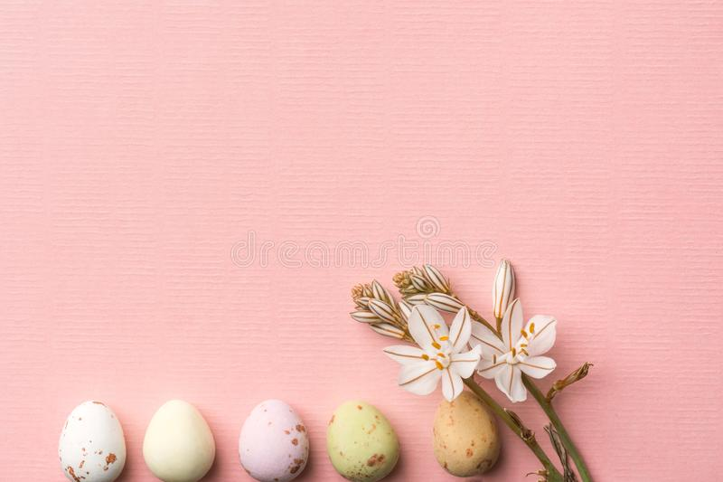 Row of multicolored speckled chocolate eggs small white spring flowers on light pink background with linen paper texture. Easter royalty free stock photos