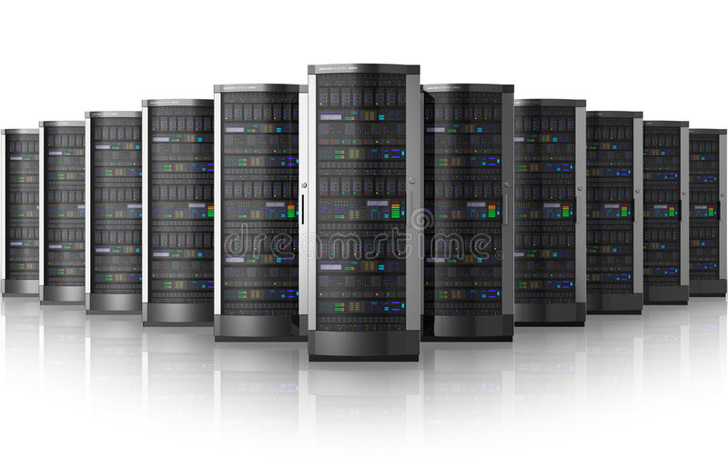 Row of network servers in data center royalty free illustration