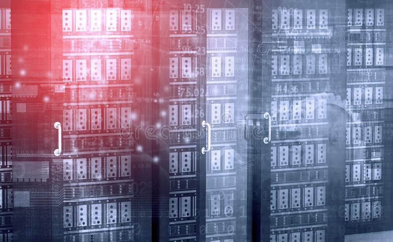 Row of network servers in data centre. 3d illustration vector illustration