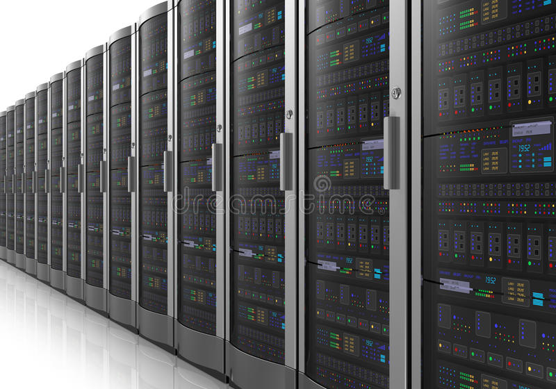 Row of network servers in datacenter royalty free illustration