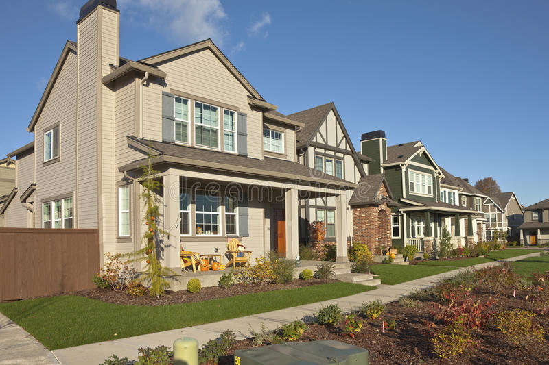 Row of new homes in Willsonville Oregon. stock photography