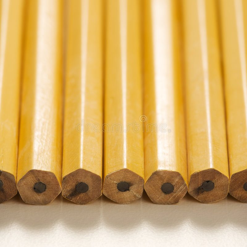 Row of new pencils. stock photography
