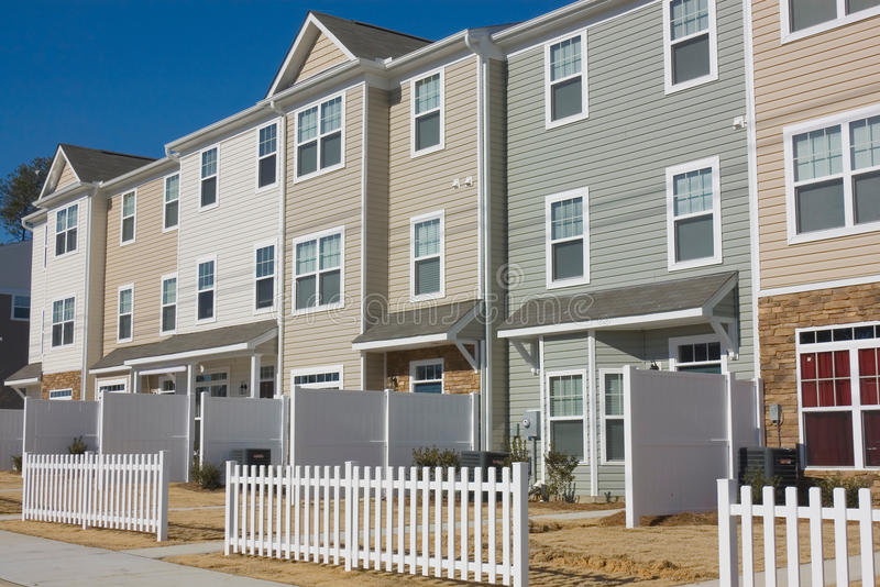 Row of newly build townhouses. In ready to move-in condition stock image