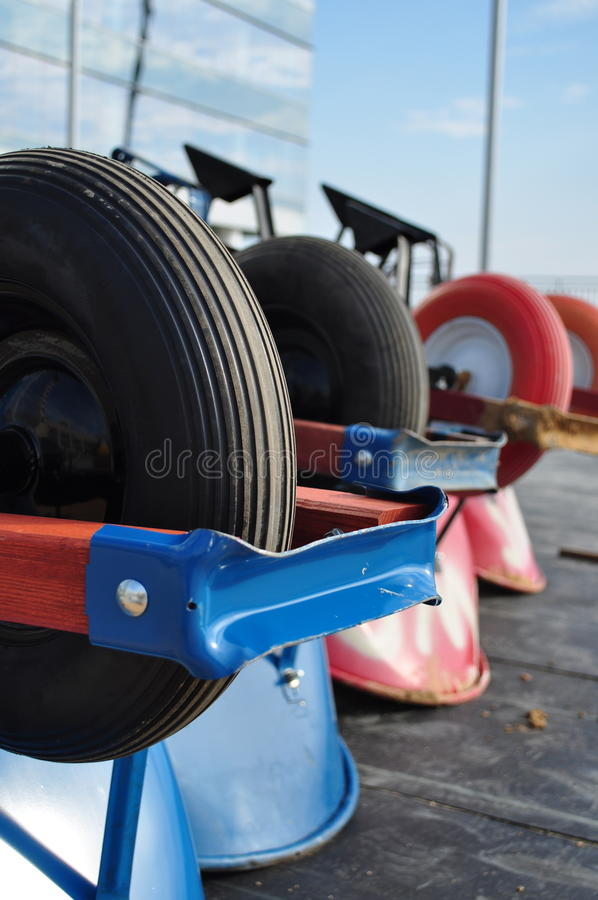 Free Row Of Wheelbarrows Royalty Free Stock Image - 10188916