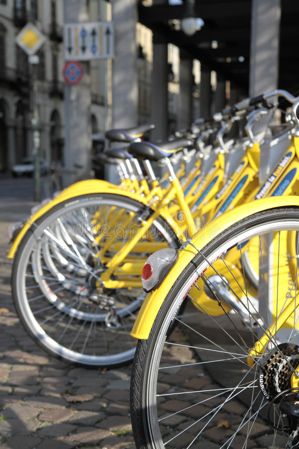 Free Row Of Yellow Bicycles Royalty Free Stock Photos - 16491328