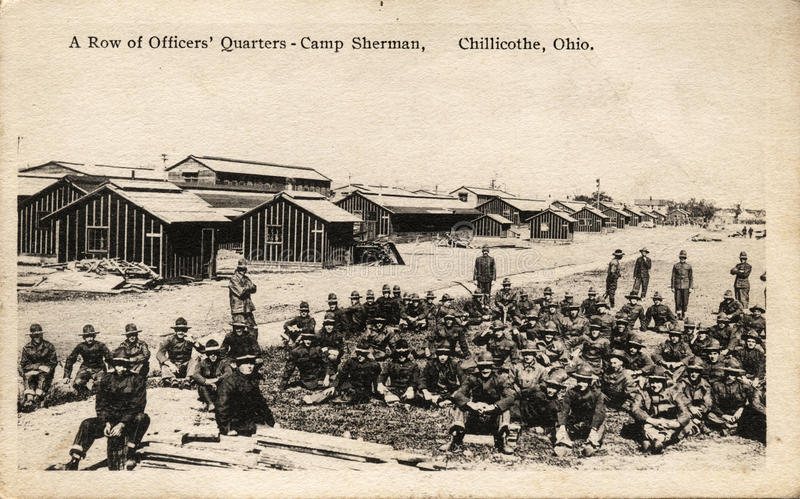 A Row of Officers' Quarters. CHILLICOTHE, OHIO, USA – CIRCA 1914-1918: A Row of Officers' Quarters – Vintage WWI postcard depicting officers stock photography