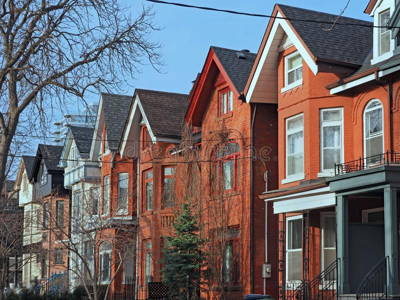 Row of old Victorian style brick houses stock photo