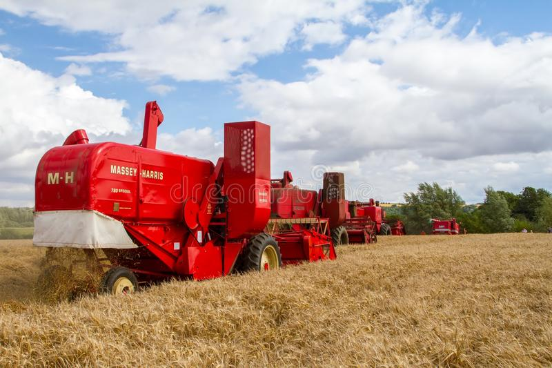 A row old vintage Massey Ferguson combine harvesters. A row of old vintage Red Massey Ferguson combine harvesters cutting english field of crops stock photography