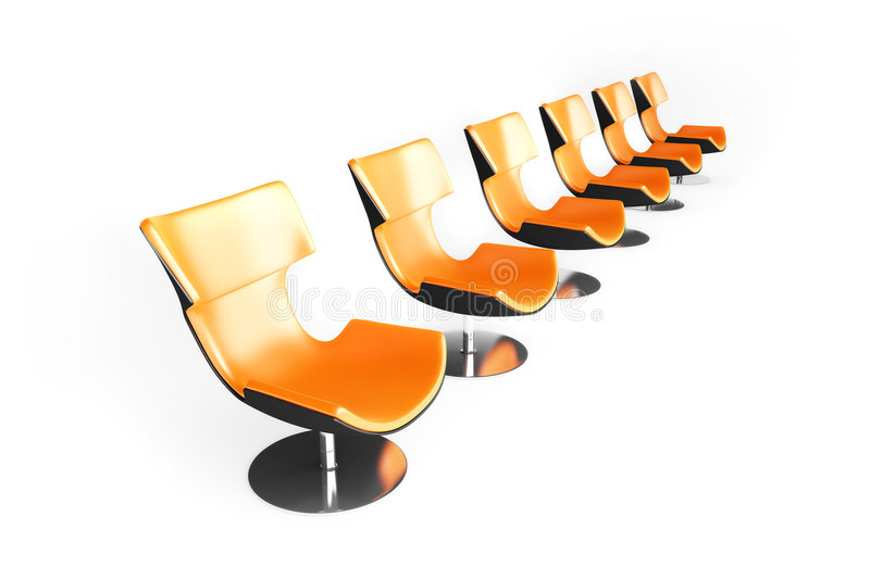 Row of the orange chairs. 3d render of the orange chairs royalty free illustration