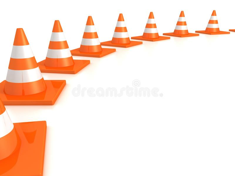 Download Row Of Orange Road Traffic Cones On White Stock Illustration - Illustration of safety, danger: 27204947