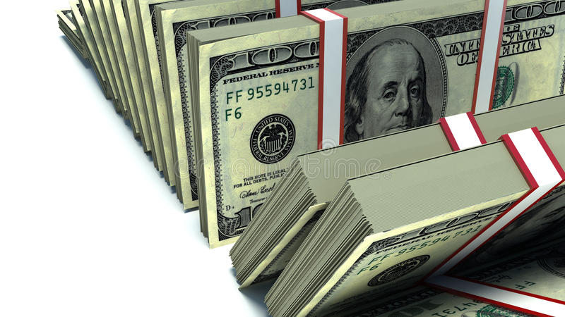Row of packs of dollars. Lots of cash money royalty free illustration