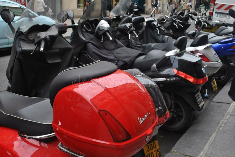 Row of Paris Motorcycles stock photography