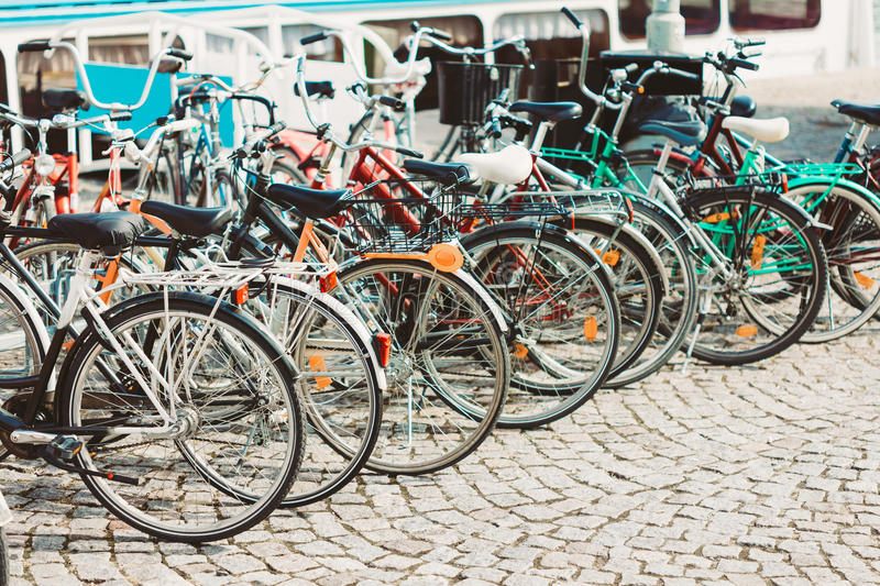 Row Of Parked Bicycles. Bicycle Parking In Big City royalty free stock image