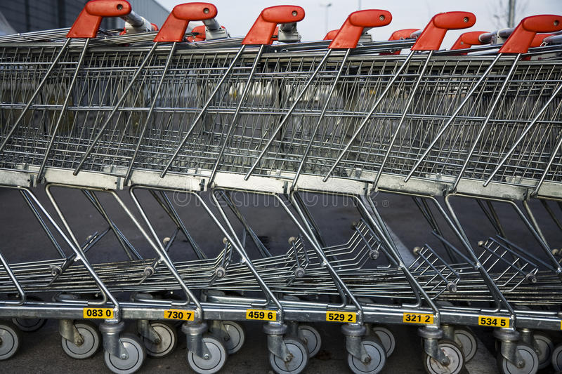 Download Row Of Parked Trolleys Stock Images - Image: 17971464