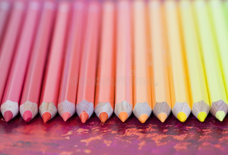 Row Of Pastel Colored Pencils Stock Photos
