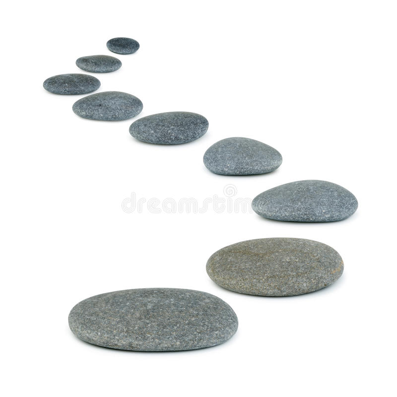 Row pebbles. Sea stones. It is isolated on a white background stock photo