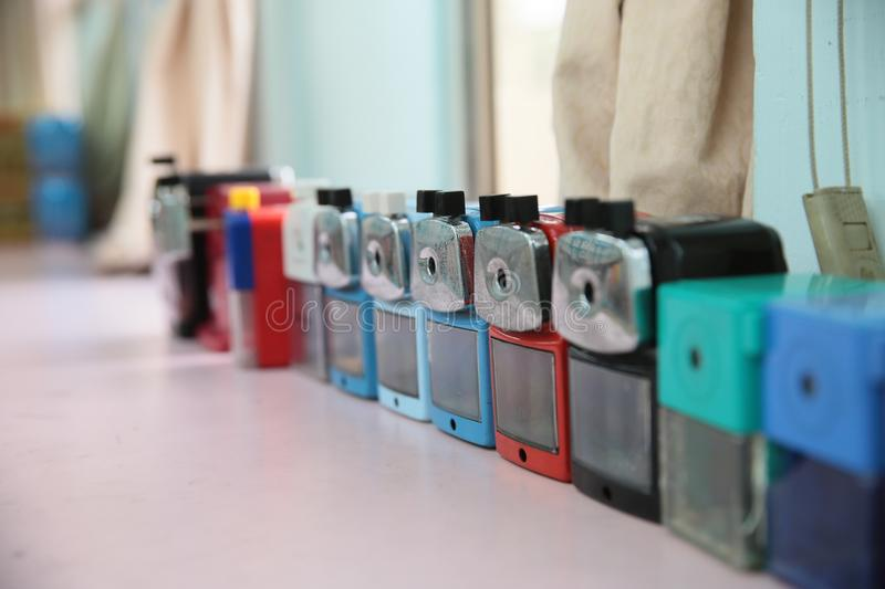 Row of pencil sharpeners stock photography