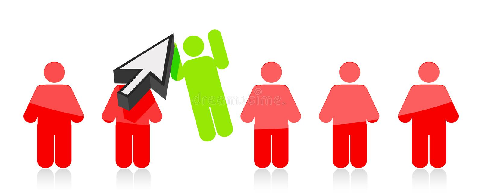 Download Row Of People And One Selected By A Cursor Stock Images - Image: 26947014
