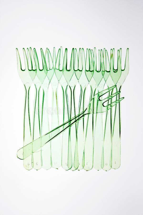 Row Of Plastic Forks Royalty Free Stock Photos