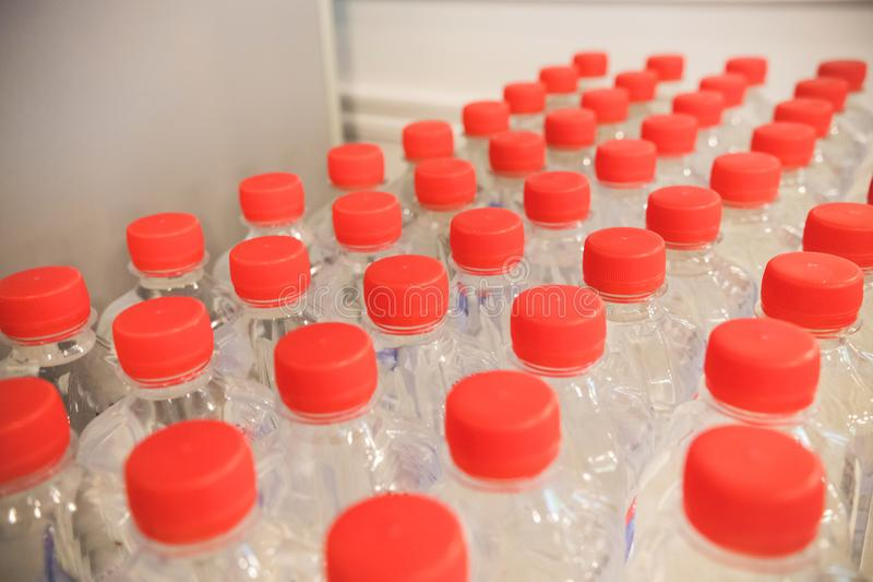 Row of plastic water bottles with red covers royalty free stock photos