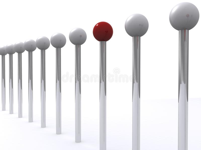Row of posts and balls. Illustrated row of posts with balls on the top. One red ball among silver balls. White background royalty free illustration