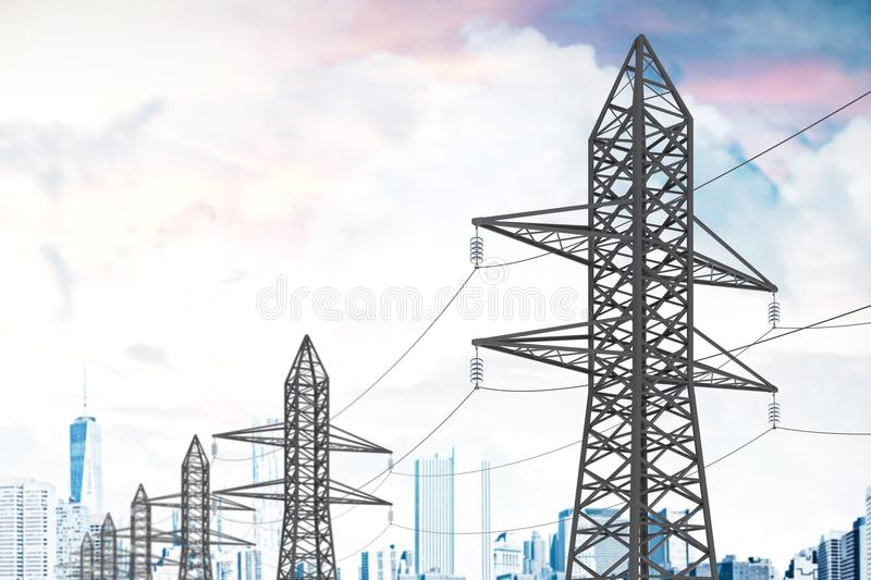 Row of power line supports cloudy sky city stock illustration