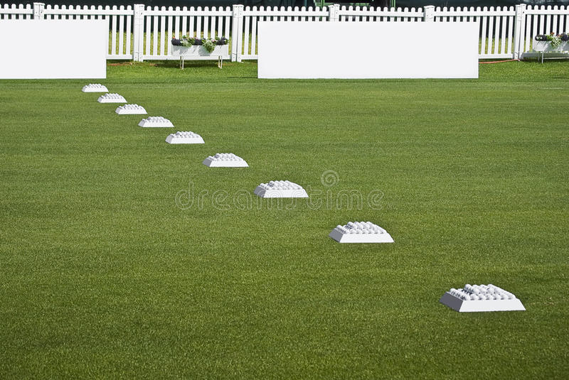 Download Row Of Practice Balls, Blank Signage Boards Stock Photo - Image: 12347932