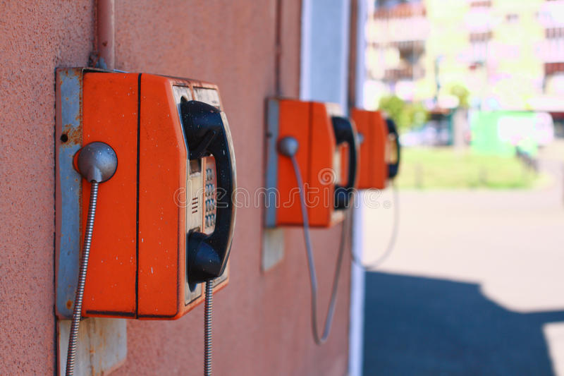 Row of public payphones royalty free stock images