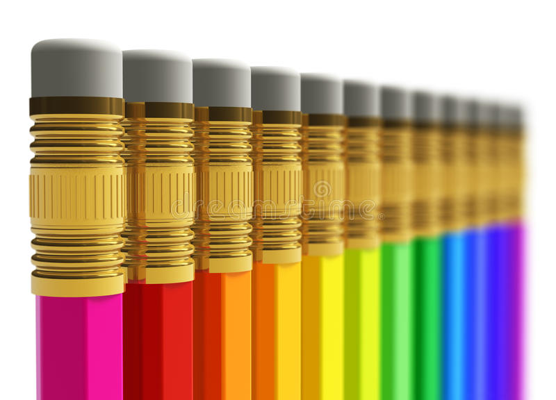 Row of rainbow pencils. Creative abstract business, office, school education and creativity concept: row of rainbow pencils isolated on white background with royalty free illustration