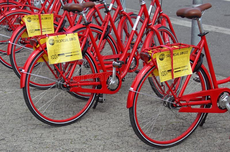 Row of red guided rental bikes: Tropical Bikes. Copenhagen, Denmark - July 20, 2019: Row of red guided rental bikes Tropical Bikes in the city of Copenhagen stock photos