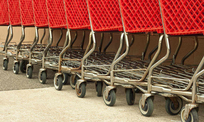 Download Row of red shopping carts stock image. Image of rusty - 14838477