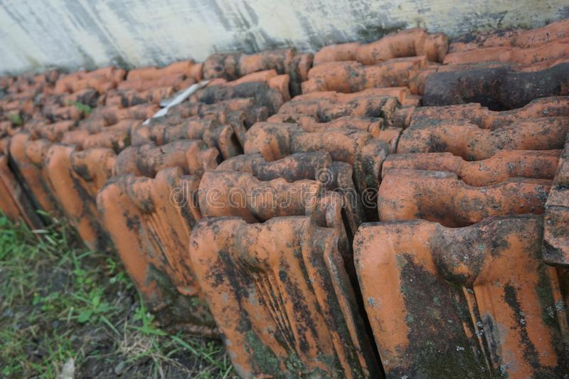 Vintage Red Clay Roof Tile royalty free stock photos