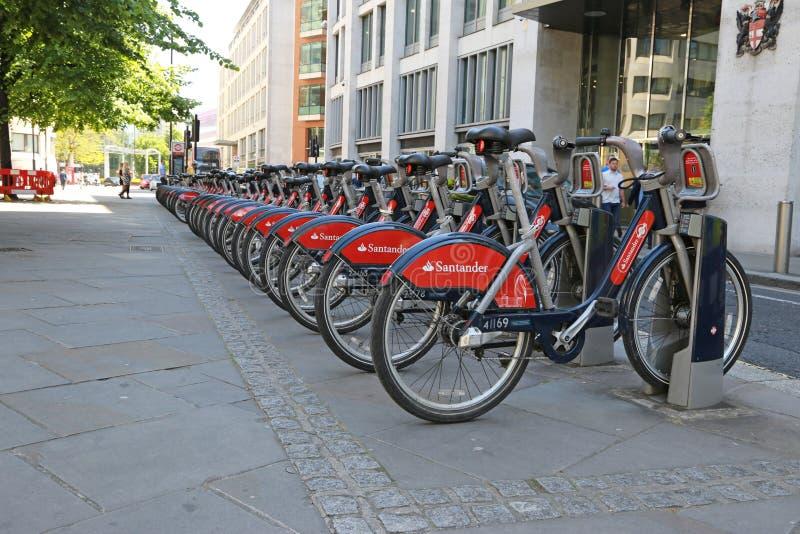 Santander rental bikes in London stock photo
