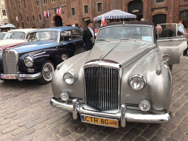 Retro cars at classic cars show in Torun royalty free stock photos