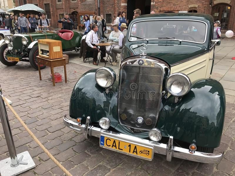 Retro cars at classic cars show in Torun royalty free stock image
